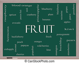 Fruit Word Cloud Concept on a Blackboard