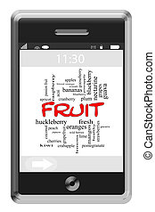 Fruit Word Cloud Concept on Touchscreen Phone