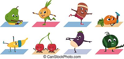Fruit yoga. Cartoon vegetable funny characters doing yoga poses and sport exercises, healthy food and fitness workout. Vector set
