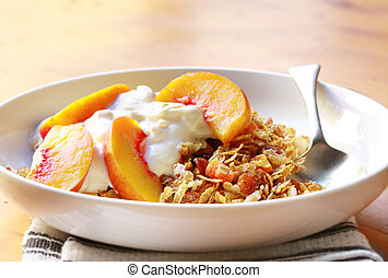 Fruit Yoghurt and Muesli - Bowl of muesli topped with ...