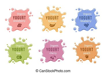 Fruit yogurt logos set