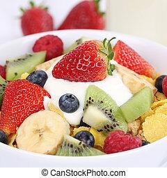 Fruit yogurt with milk for breakfast