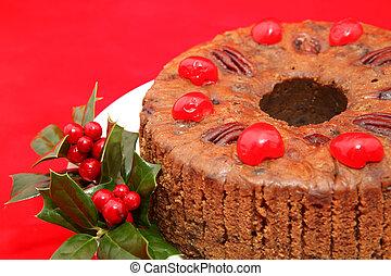 fruitcake, closeup, natal, vermelho