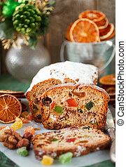 fruitcake., fruta, pasas, foco, tradicional, nueces, ...