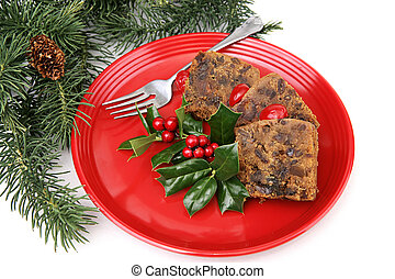 Fruitcake on Red Plate - Delicious holiday fruitcake on a ...