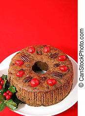 Fruitcake Ring on Red