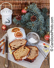 Fruitcake with nuts, raisins, candied fruit and spices. Traditional Spicy Christmas cake