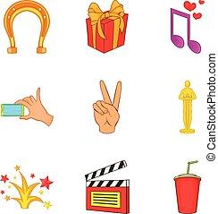 Fruitful icons set, cartoon style - Fruitful icons set....