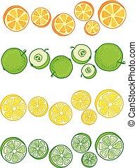 fruits., セット, イラスト
