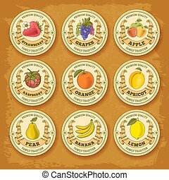 Fruits and berries label set