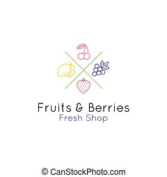 Fruits and berries line style logo for shop and cafe. Vector emblem