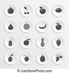 Fruits and berries, vector icons set