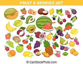 Fruits and berries vector isolated icons set - Fruits and...