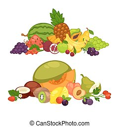 Fruits and berry food farm products vector flat icons set