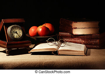 Fruits And Books - Vintage stil life with old clock near...