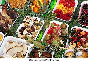 Fruits and fungi - Various organic and natural fruits and...