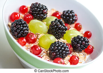fruits and oatmeal