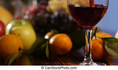 fruits and pouring wine