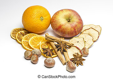 Fruits and several sorts of spice