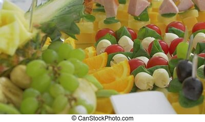 Fruits and snacks event food catering closeup