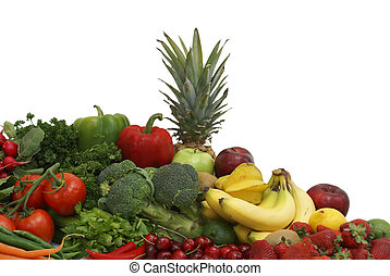 A variety of fruits and vegetables arranged on white background.