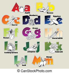 Fruits and vegetables alphabet A-M