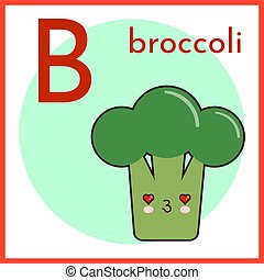 Fruits and Vegetables Alphabet for Education. Great for Kids Education. Letter B for Broccoli