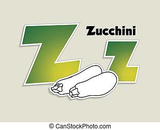 Fruits and vegetables alphabet - letter Z - vector eps 10 illustration