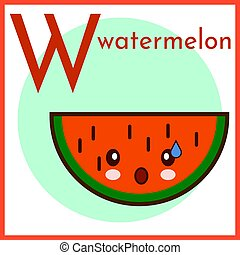 Fruits and vegetables alphabet. Vector illustration with funny characters. Great for kids education. Letter W for Watermelon