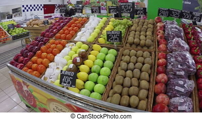 Fruits and vegetables at supermarket