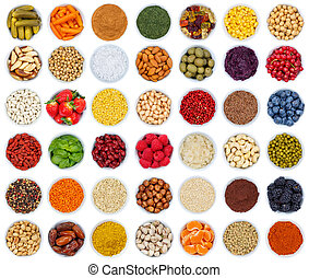 Fruits and vegetables berries spices herbs from above isolated on white