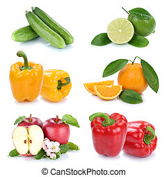 Fruits and vegetables collection colors fresh fruit