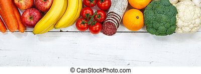 Fruits and vegetables food collection cooking ingredients banner copyspace top view