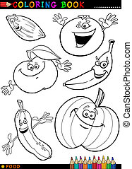 fruits and vegetables for coloring - Coloring Book or Page...