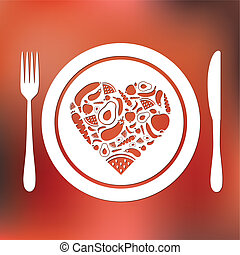 fruits and vegetables heart in plate