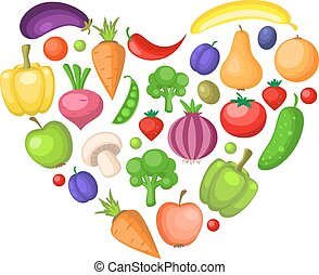 Fruits and vegetables heart
