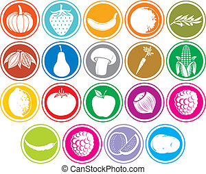 fruits and vegetables icons buttons set (banana, pumpkin,...