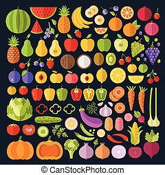 Fruits and vegetables icons set. Modern flat design graphic art. Whole and sliced vegetables and fruit icons. Vector illustration