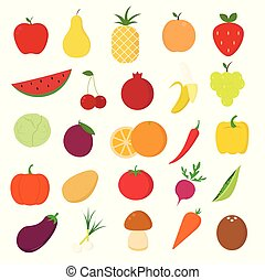 Fruits and vegetables icons set on white background for graphic and web design, Modern simple vector sign. Internet concept. Trendy symbol for website design web button or mobile app.