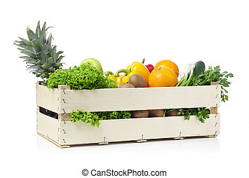 Fruits and vegetables in a crate