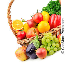 fruits and vegetables in a wicker basket