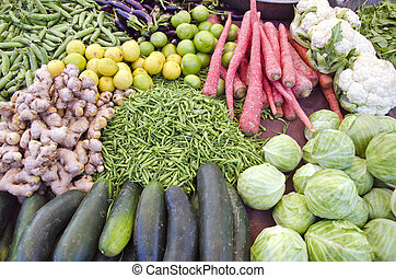 fruits and vegetables in asia market, Rajasthan, India
