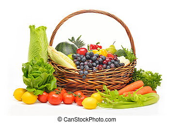 fruits and vegetables in basket isolated on white (fruit)