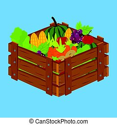 Fruits and Vegetables inside Wooden Crate