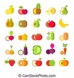 Fruits and vegetables isolated icons, healthy organic food