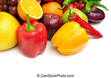 fruits and vegetables isolated on a white...