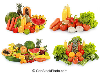 fruits and vegetables isolated on w - collection of...
