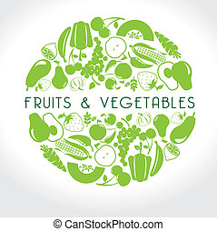 fruits and vegetables label over white background vector...