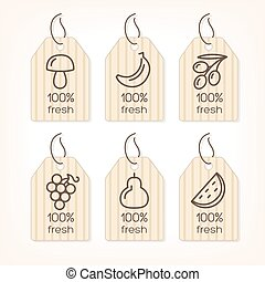 Fruits and Vegetables lined icons on the banners
