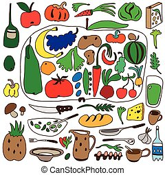 fruits and vegetables , natural food - doodles set